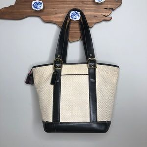 Coach Straw Tote with Leather and Pink Accents